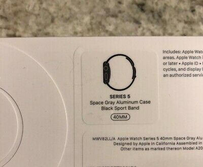 SEALED Apple iWatch Series 5 FIVE 40mm Space Gray Aluminum Case Black Band NEW !