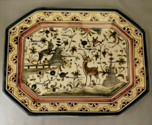 Hand Painted Nazari Portugal Platter Rabbit and Deer