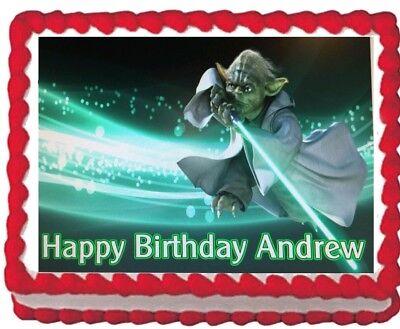 Star Wars Yoda  Edible Cake Topper Icing 1/4 sheet Personalized Image Decoration