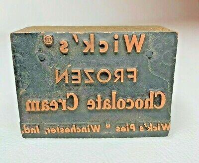 Antique Copper Letterpress Print Block Wicks Chocolate Cream 1 916 X 2 316