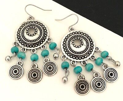 Designer Wood Earrings - Designer STATEMENT Earrings Antique Silver Turquoise Wood Premier Urban Chic 13F