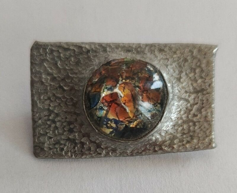Arts and crafts pewter brooch