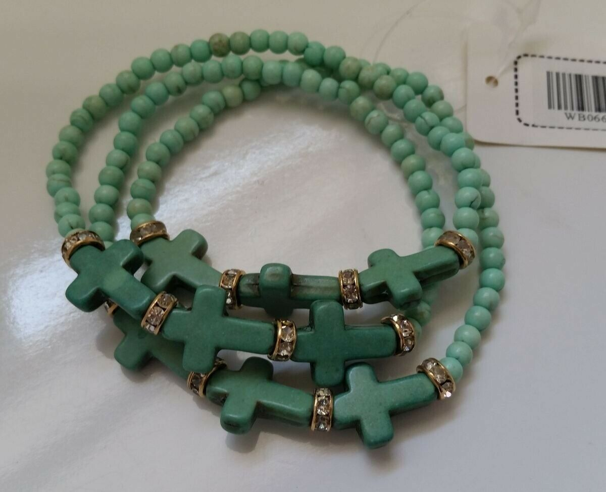 Christian MINT Green multi-layer small beads Cross stretch B