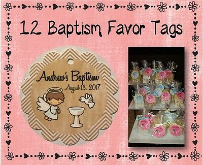 12 Personalized Baptism Party Favor Tags - 2