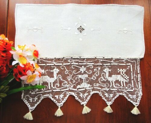 Antique Handmade Italian Knotted Figural Lace Doily Centerpiece BOSA Goats Sheep