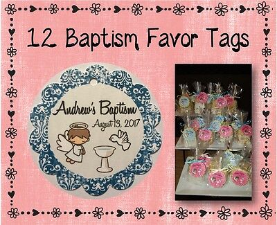 Damask Party Favors (12 Personalized Baptism Party Favor Tags - 2