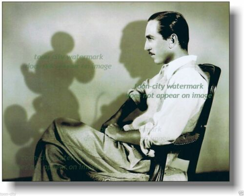 Walt Disney NEW 8x10 photo Profile with shadows of Mickey Mouse 1930s image