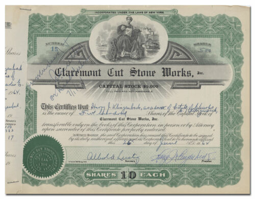 Claremont Cut Stone Works, Inc. Stock Certificate