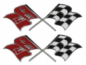 57 Chevy Fuel Injection Flags Emblem NEW 1957 Chevrolet PAIR