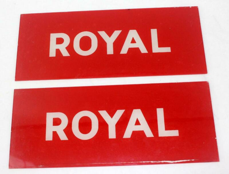 Vintage Conoco ROYAL Service Station Gas Pump Glass Signs ~ Lot of 2