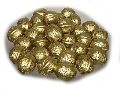 Walnüsse gold, Kunststoff Beutel a 32 Stück,  Weihnachtsdekoration  Attrappen