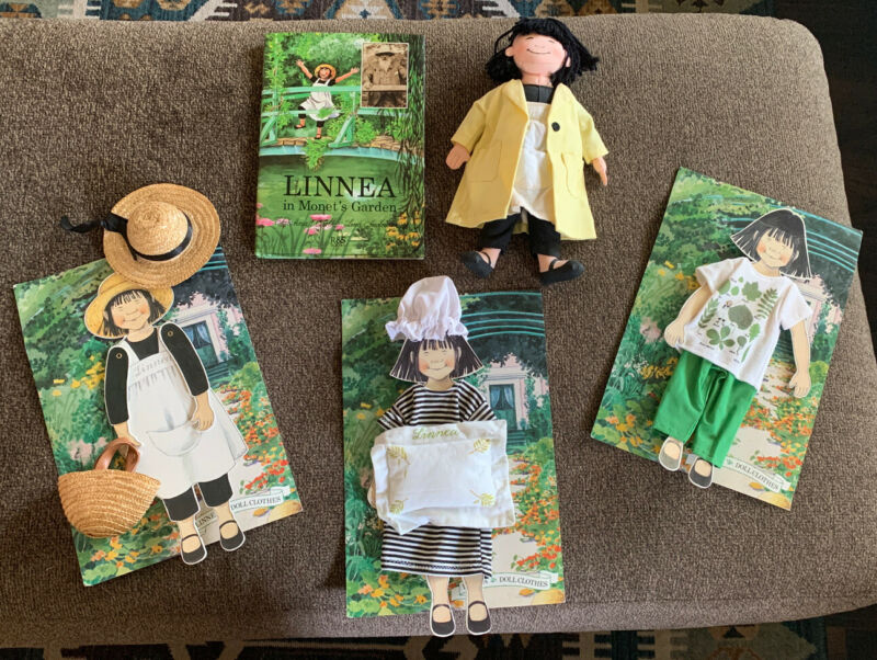 Linnea Doll Lot - Doll, Monet Book, Clothes, Paper Dolls, + Package Backing