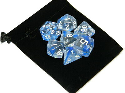 New 7 Piece Polyhedral Nebula Blue Clear Dice Set With Dice Bag D&D RPG](Clear Dice)