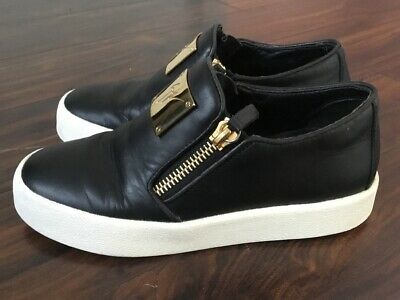 Giuseppe Zanotti Double-Zip Low-Top Platform Sneakers With Gold Emblem 36 -