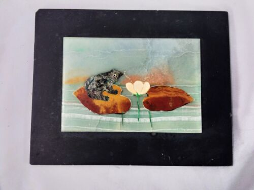 VERY RARE PIETRA DURA PLAQUE FROG ON LILY PADS MOSAIC SIGNED R BRESCI SLATE BACK