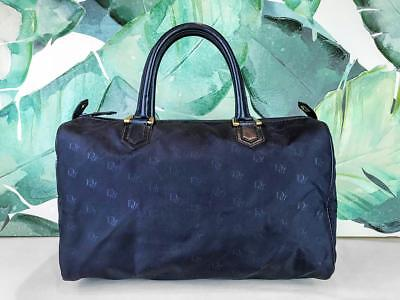 $850 CHRISTIAN DIOR Navy Blue Canvas Boston Bag Travel Duffel Leather Trim SALE! ()