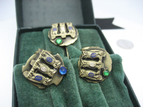 Antique Fraternal Order of Owls Gold Filled Enamel Rhinestones Cufflinks Tie Pin
