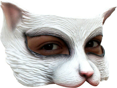 White Kitty Cat Mask Latex Animal Feline Half Face Cats Adult Fun Halloween New - Kitty Cat Face Halloween