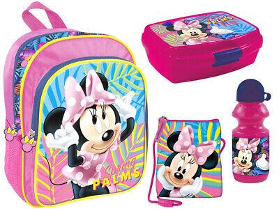 Minnie Maus 4 tlg. Kindergarten Set Rucksack Geldbeutel Brotdose Trinkflasche ()