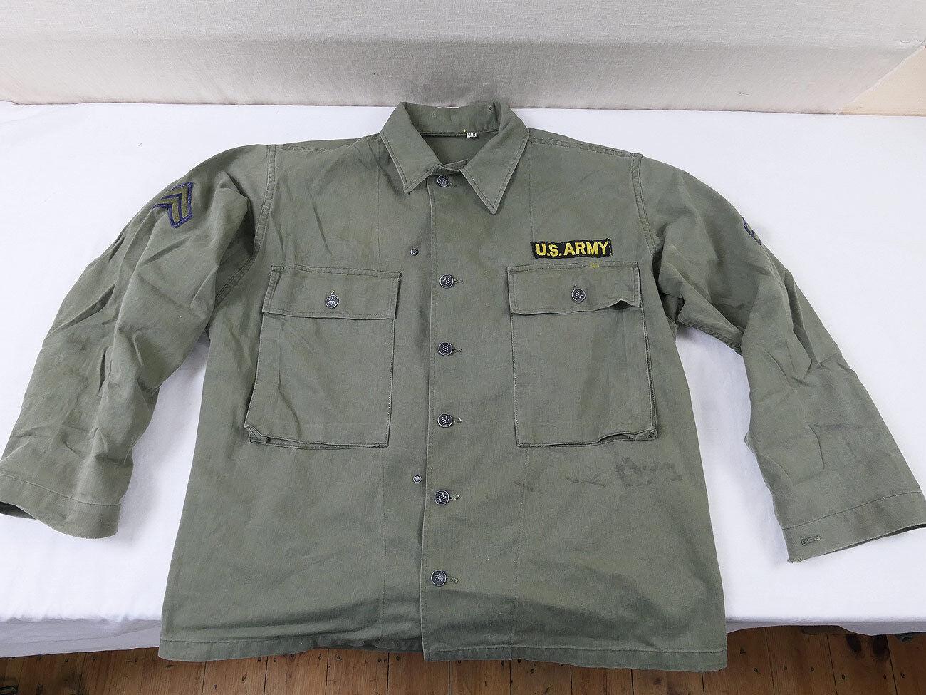 US ARMY VIETNAM HBT Feldhemd Feldjacke Twill Gr. L (EU52) mit Patches 1018