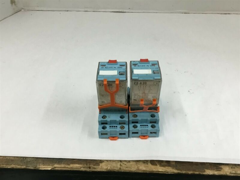 Releco MR-C C2-A20 Relay 10 Amp 120 volts Lot of 2