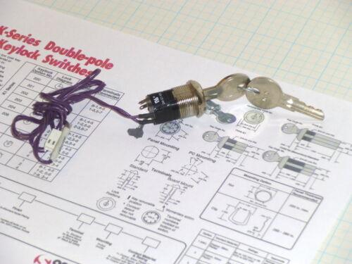 1  OSLO K1 200 Key Switch DPDT 1/4 Turn 12A @ 125Vac  FREE SHIP  (RB3.1)