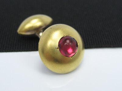 - Single Antique Edwardian Art Deco era Yellow Gold Ruby Garnet Cabochon Cufflink
