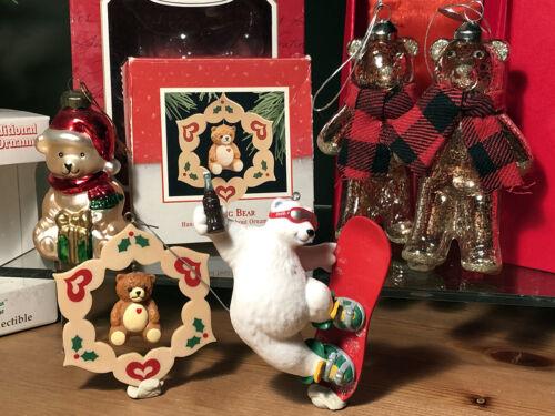5 unused bears teddies teddy holiday glass christmas ornaments st jude hallmark