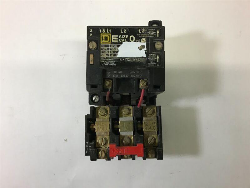 Square D 8502 Sb02 Nema Size 0 Starter 120 V Coil 5Hp @ 460 Volts