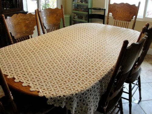"Vintage Crochet Tablecloth Ecru Handmade 75.5""x 63"" Bedspread Coverlet Scalloped"