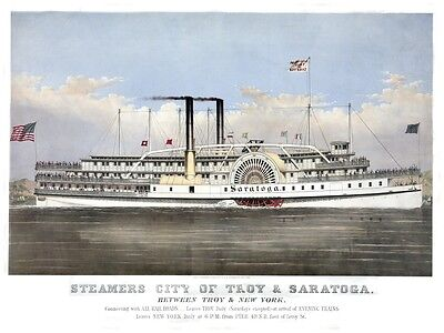 4469.Steamers city of troy and saratoga.steamship.POSTER.decor Home Office art