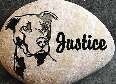 """PIT BULL DOG 8"""" MEMORIAL ENGRAVED STONE with NAME & DATE"""