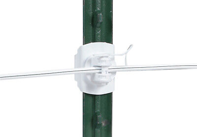200 Gallagher White T-post Wide Jaw Pinlock Electric Fence Insulators G682134