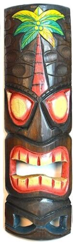 Hand Carved Tribal Totem Tiki Tree Palm Wood Mask Patio Tropical Bar Decor Art