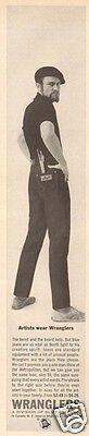 1960s vintage WRANGLERS Blue JEANS Mens Fashion ARTIST BEATNIK Painter Beret Ad