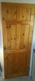 Solid Pine Door Stained 76cm x 196cm. Protected. R.R.P £95! Good solid fire door.