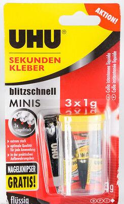 UHU Sekundenkleber flüssig - Minis 3 x 1 g - Superkleber - P03