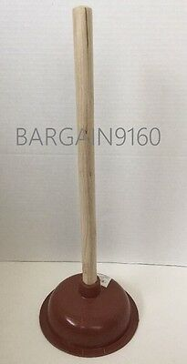 "Bathroom Toilet Plunger 7""W Strong Rubber Suction Cup & 19"" Long Wooden Handle"