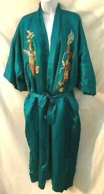 Pretty Vintage 50s Ivory Beige Long Leaf Bird Print 100/% Silk Robe