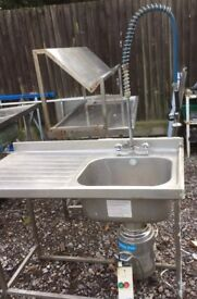 Stainless steel single bowl commercial sink with waste disposal & Spray Hose
