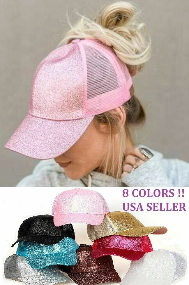 NEW COLOR Glitter Ponytail Baseball Cap Women Summer Mesh Hat beach style(U.S) Clothing, Shoes & Accessories
