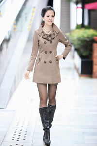 Womens Slim Fit Trench Double Breasted Coat Jacket Scarf Outwear 8 10 12 14