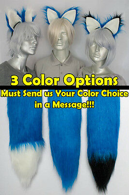 Blue Furry Fox Tail and/or Ears Cosplay Accessories