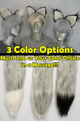 Silver/Grey Furry Fox Tail and/or Ears Cosplay (Grey Fox Kostüm)