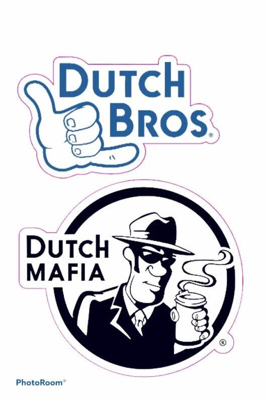 Lot of 2 Dutch Bros Brothers stickers Dutch Mafia + Hang Loose Logo 2020