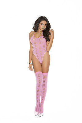 Candy Pink Opaque Halter Neck Teddy Stockings w/Mesh Heart Burnout...Adult Woman
