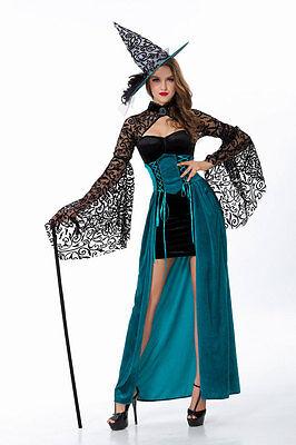 Neu Damen Sexy Hexe Schwarz & Blau Halloween Kostüm Kleid Kostüm Party ladcos19 ()