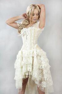 Gothic-Victorian-Steampunk-Evening-Cream-Lace-Taffeta-Corset-Wedding-Prom-Dress