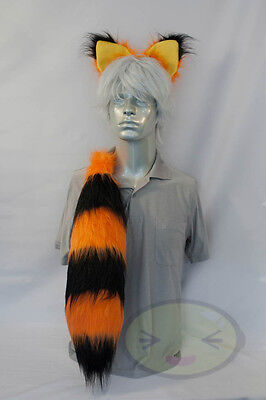 Fluffy Halloween Fox Raccoon Cheshire Cat Tail and Ears Set, Costume, Hand-made, - Fox Ears And Tail Set Halloween