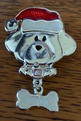 Christmas Brooch Dog dressed for Christmas Fun and Festive, good condition